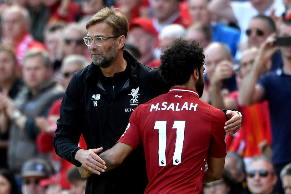 Jurgen Klopp and Mohamed Salah, Liverpool