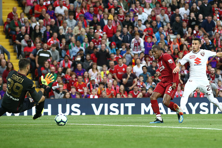 Georginio Wijnaldum scores for Liverpool against Torino