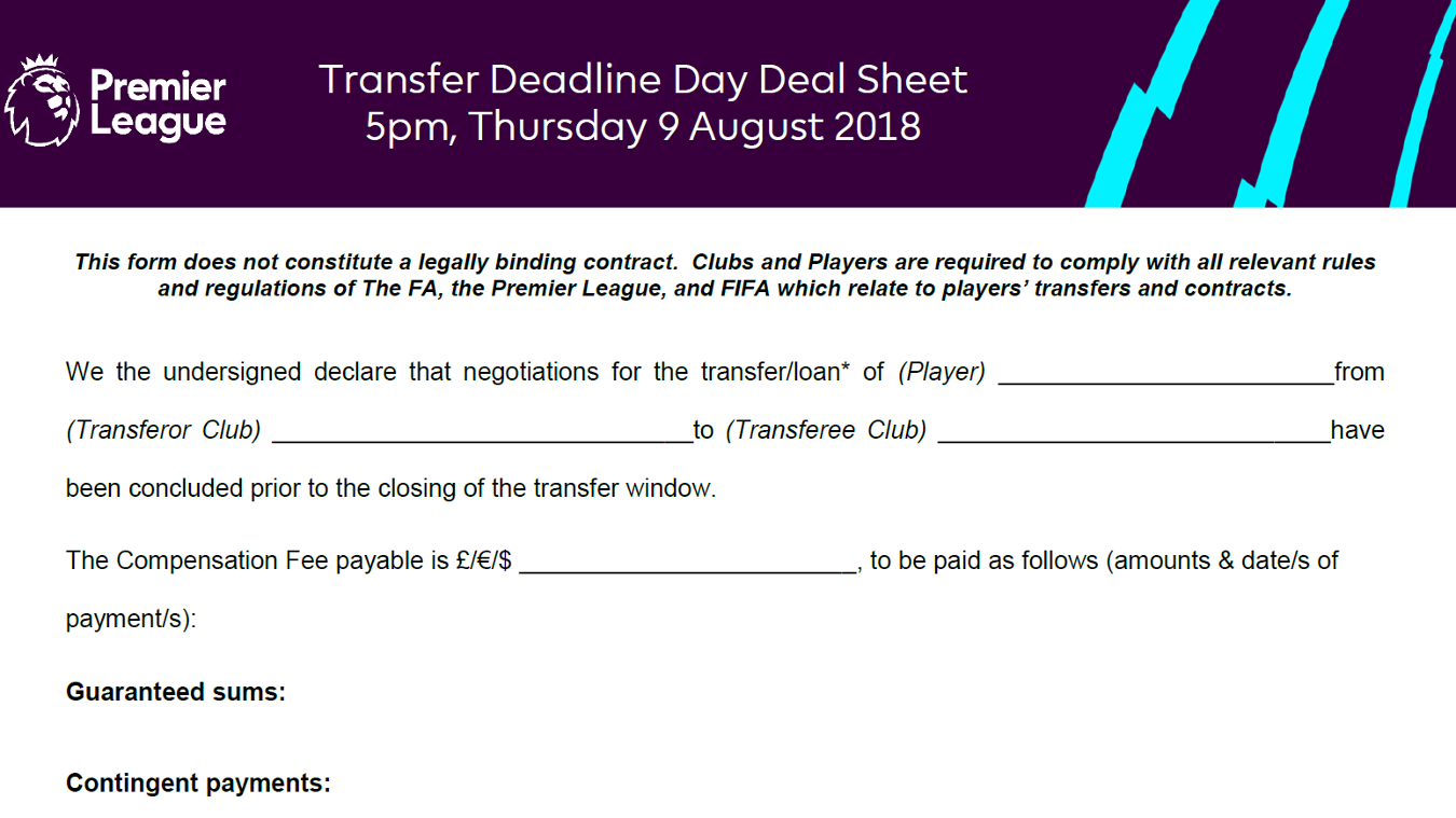 Transfer Deadline Day Deal Sheet August 18