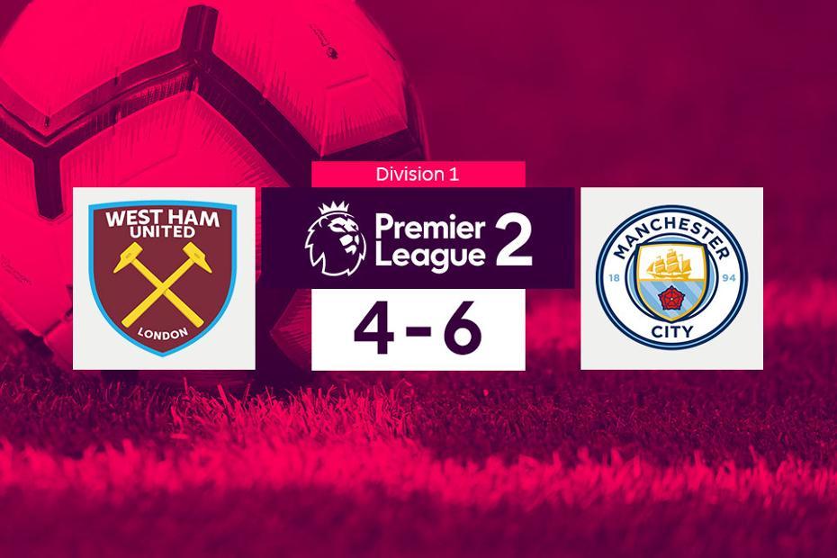 PL2 score graphic - West Ham 4-6-Man City