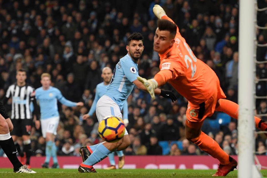 Sergio Agueor scores, Man City v Newcastle 2017/18