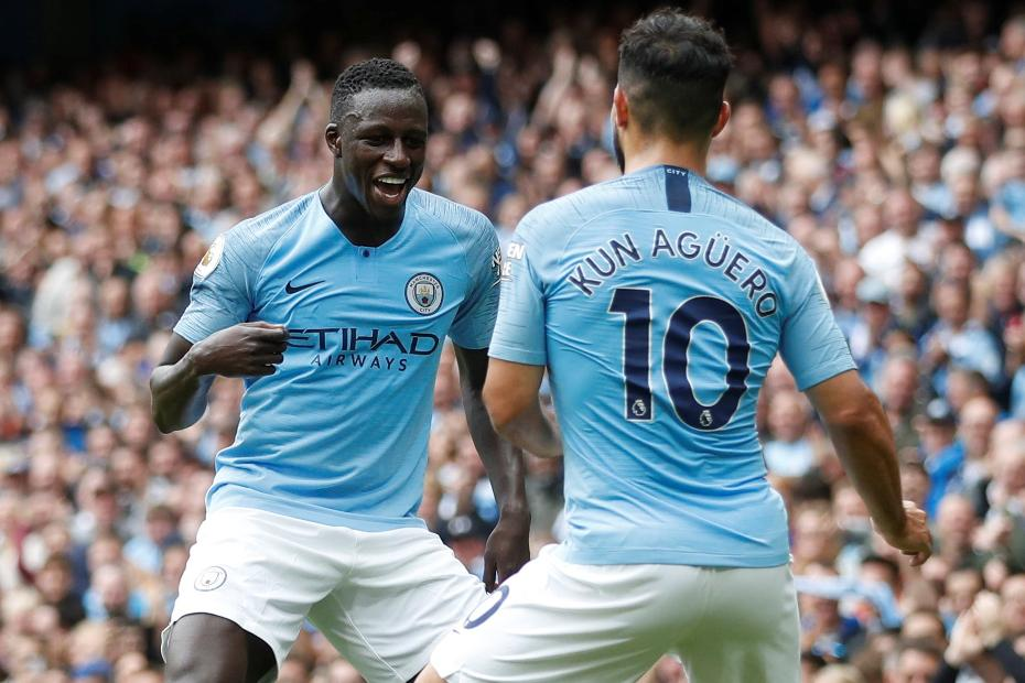 Benjamin Mendy and Sergio Aguero