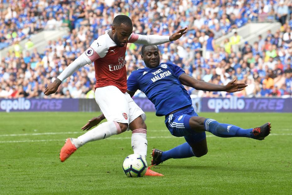 Alexandre Lacazette scores against Cardiff