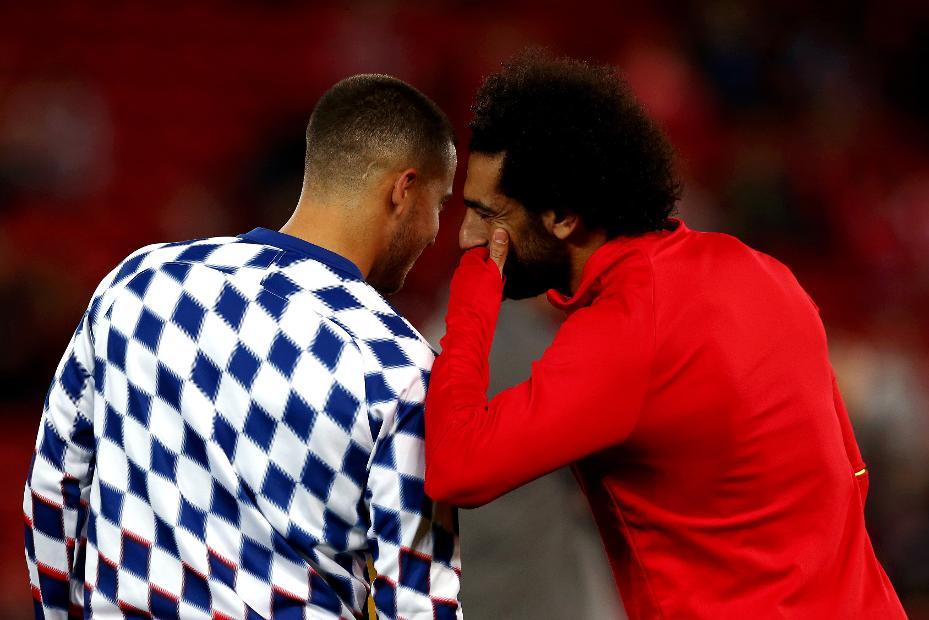 Eden Hazard, of Chelsea, and Mohamed Salah of Liverpool