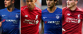 Cesar Azpilicueta, Trent Alexander-Arnold, Marcos Alonso and Andrew Robertson (L-R)