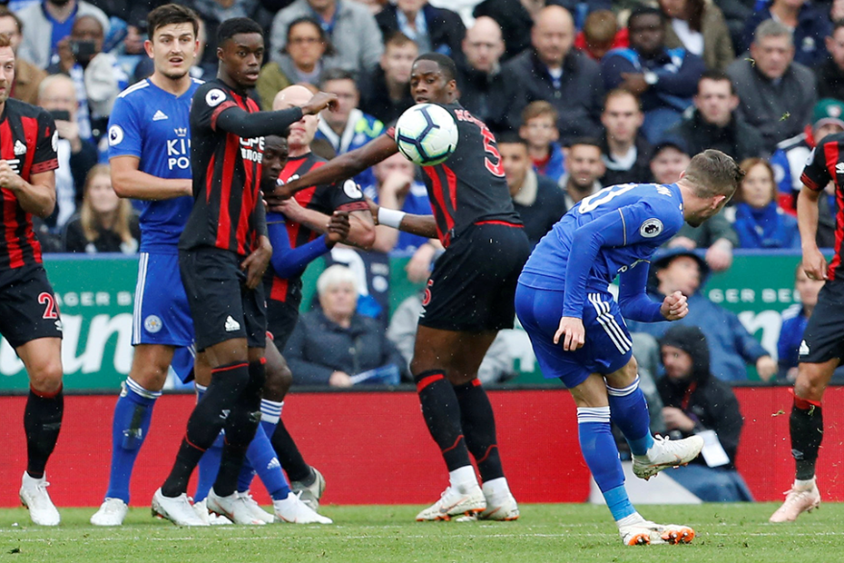 James Maddison takes a penalty for Leicester against AFC Bournemouth lead