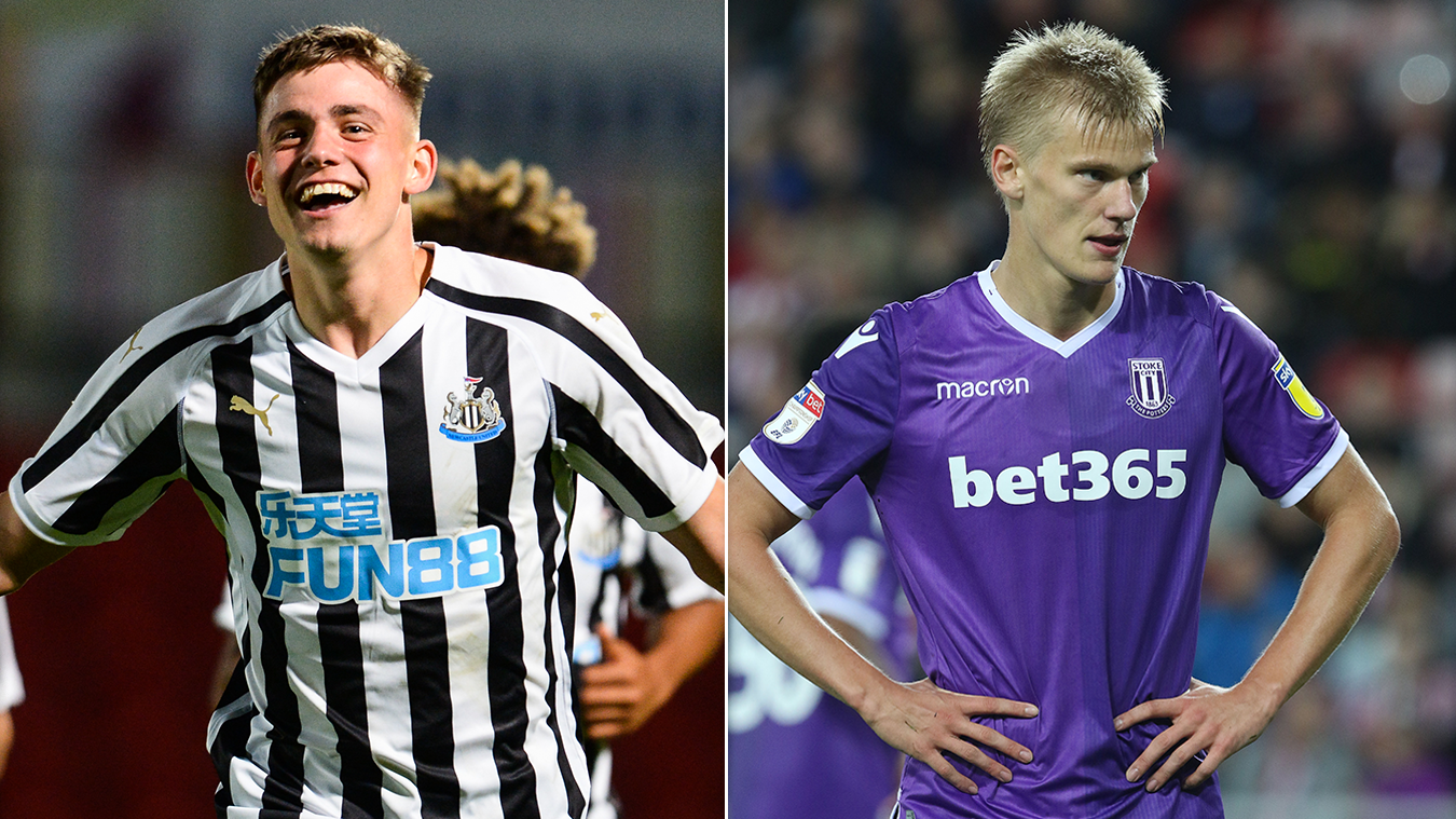 From left: Newcastle United's Elias Sorensen and Lasse Sorensen, of Stoke City