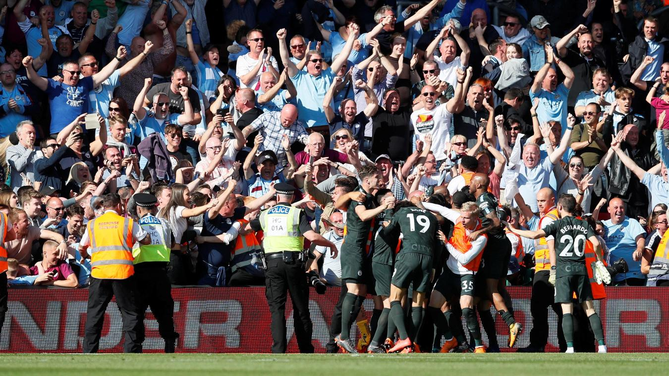 Man City celebrations at Southampton, 2017/18