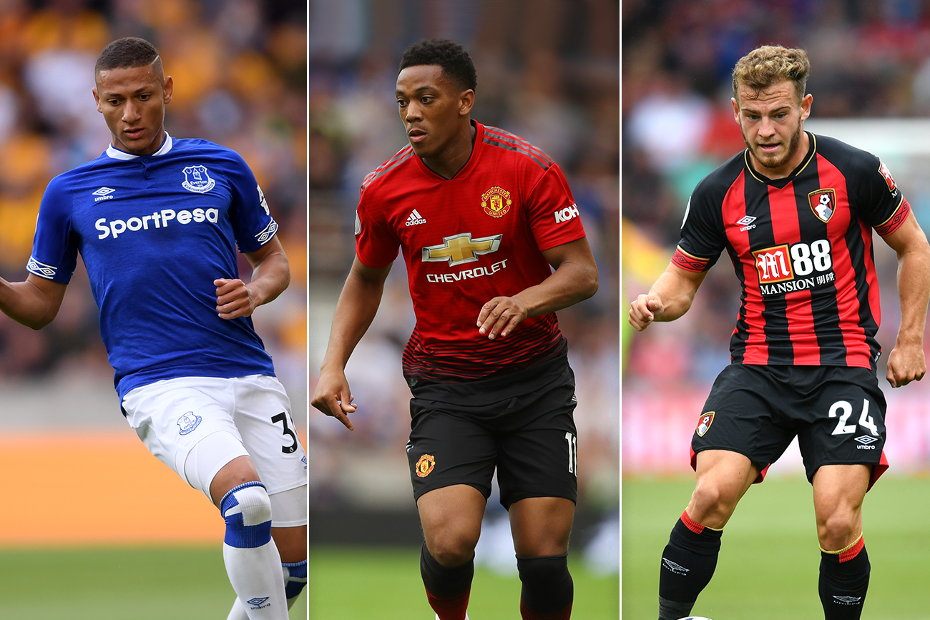 Richarlison, Anthony Martial and Ryan Fraser