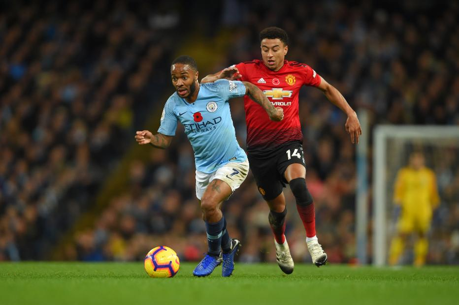 Man City's Raheem Sterling and Man Utd's Jesse Lingard
