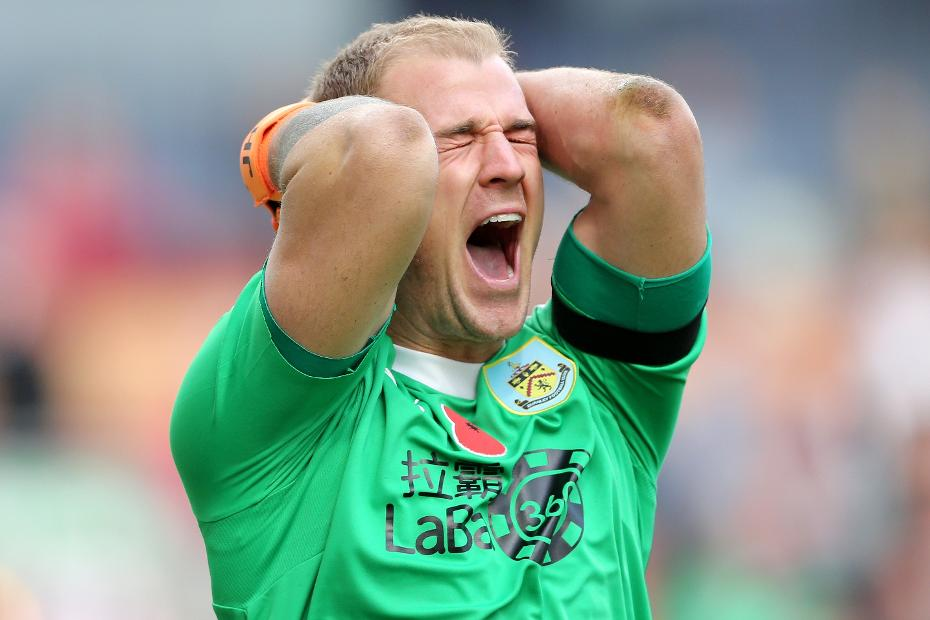 Joe Hart of Burnley reacts