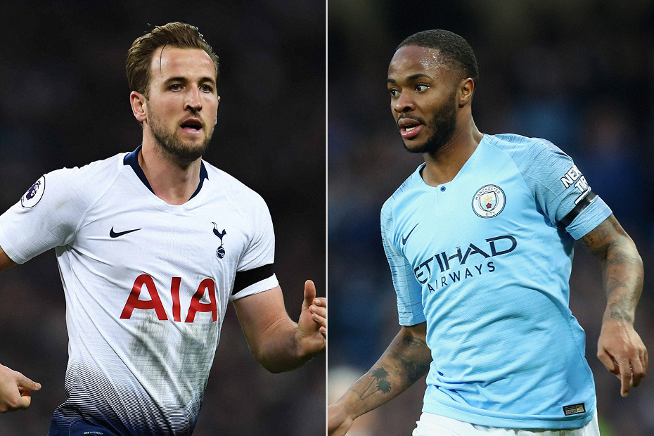 Harry Kane, of Spurs, and Raheem Sterling, of Man City