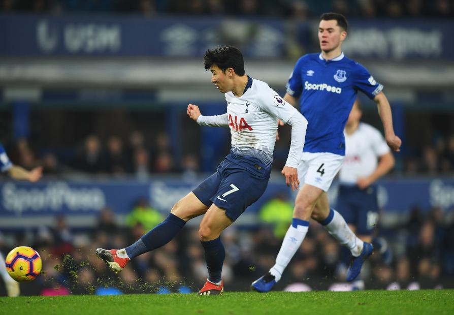 bfc945d79 Everton v Tottenham Hotspur. Son Heung-min and Harry Kane scored twice ...
