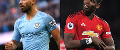 Man City's Sergio Aguero and Man Utd's Paul Pogba