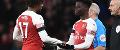 Arsenal's Bukayo Saka comes on for Alex Iwobi
