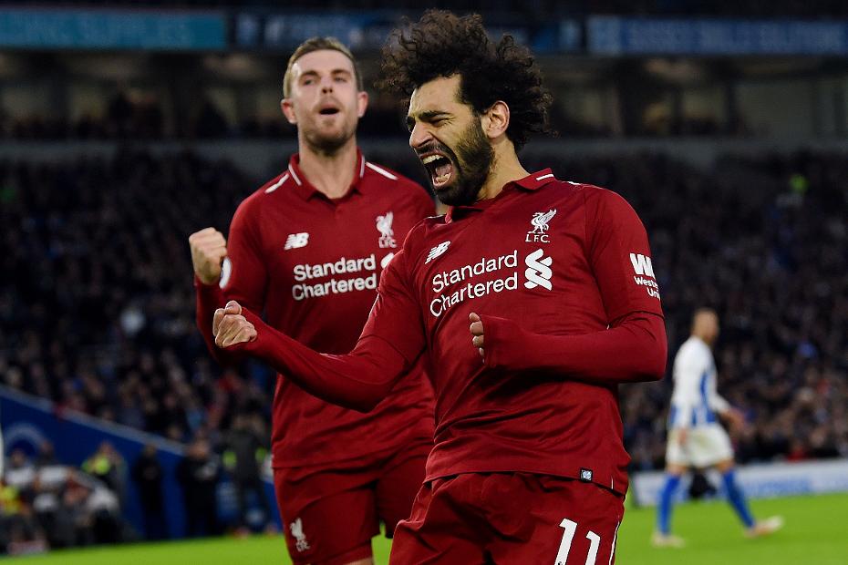 Mohamed-Salah celebrating v Brighton 2
