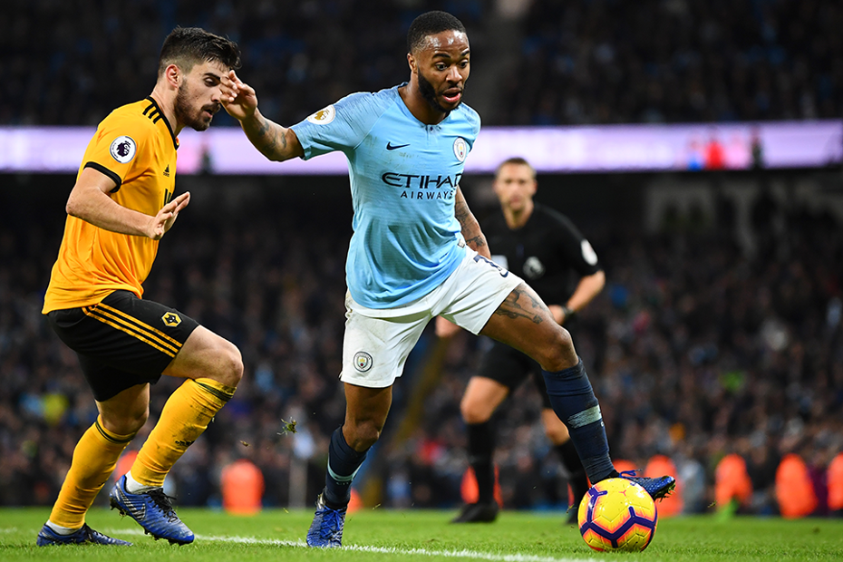 Man City's Raheem Sterling in action against Wolves