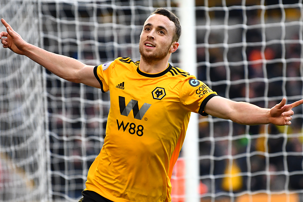 Wolves midfielder Diogo Jota celebrates one of three goals against Leicester City