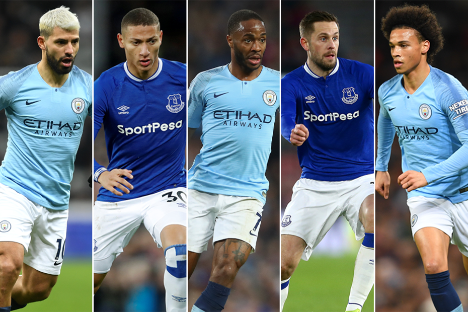 Sergio Aguero, Richarlison, Raheem Sterling, Gylfi Sigurdsson and Leroy Sane