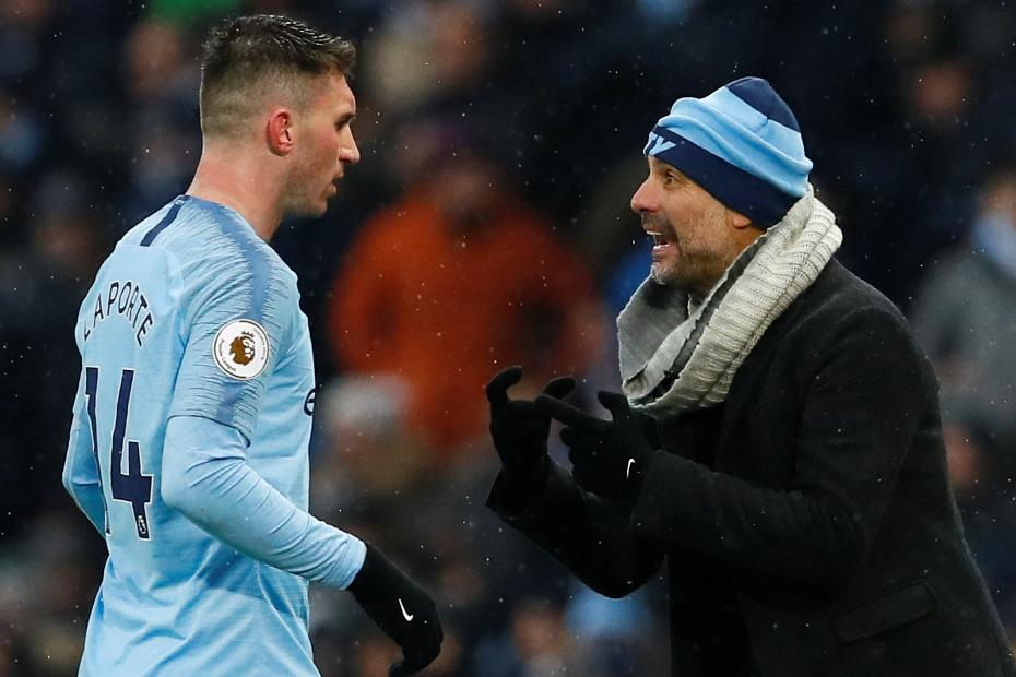 Aymeric Laporte and Pep Guardiola, Man City