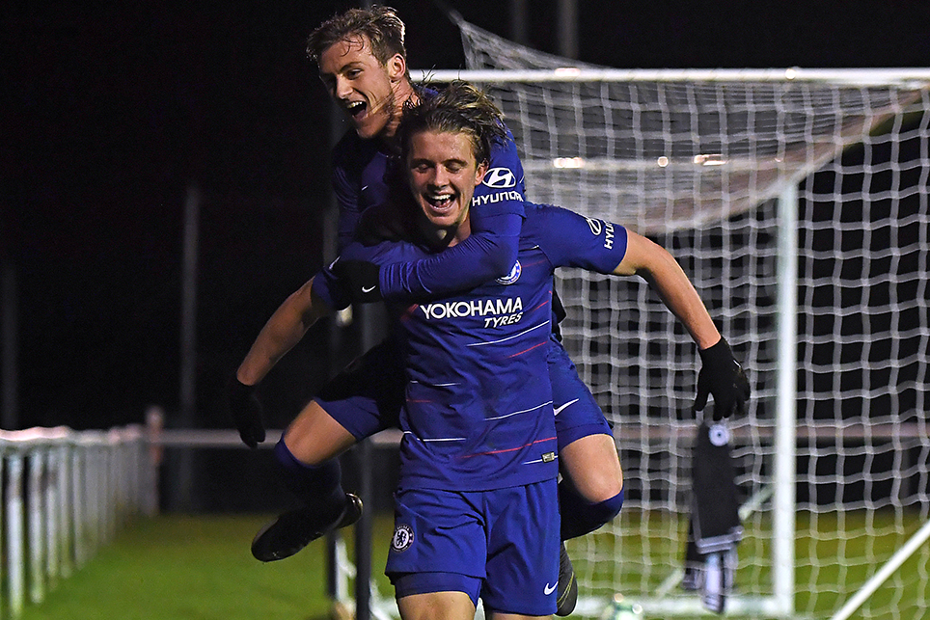 Conor Gallagher celebrates scoring for Chelsea against Derby County in PL2