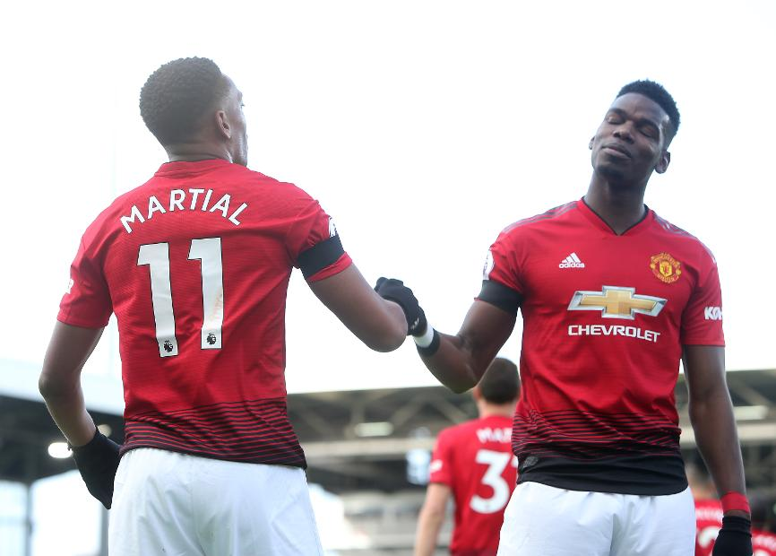 e9e10429b9e Pogba and Martial fire Man Utd into top four