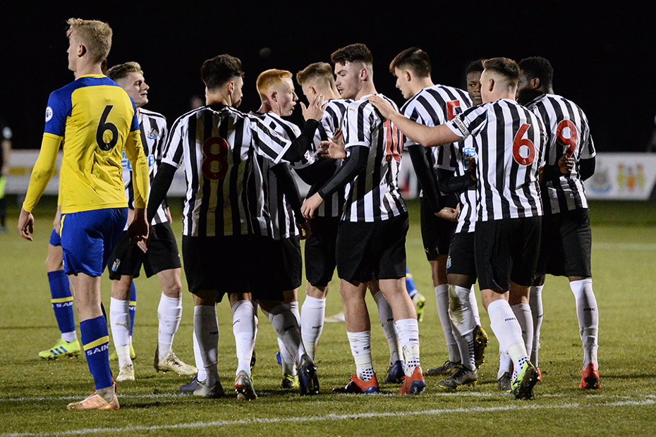 Newcastle celebrate Luke Charman's goal against Southampton
