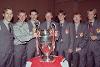 Left to right: Phil Neville, Nicky Butt, Ryan Giggs, Eric Harrison, Gary Neville, Paul Scholes, David Beckham