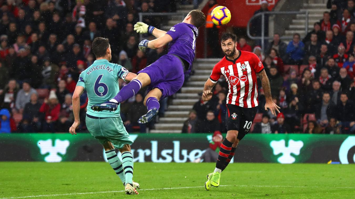 Southampton striker Charlie Austin and Arsenal goalkeeper Bernd Leno